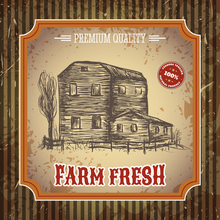 fresh produce: Organic farm vintage poster with farmhouse on the background texture of wooden boards. Retro hand drawn vector illustration in sketch style