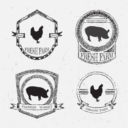 fresh produce: organic farm fresh. Vintage chalk labels and badges with pig and chicken on grunge background. Hand drawn vector illustration poster