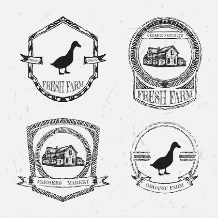 duck meat: organic farm vintage chalk labels with farmhouse and duck on the grunge background. Retro hand drawn vector illustration poster in sketch style