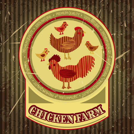 vector illustration  hen: Organic farm funny cartoon label with family chicken: cock, hen with chickens, hen house. Hand drawn retro vector illustration poster