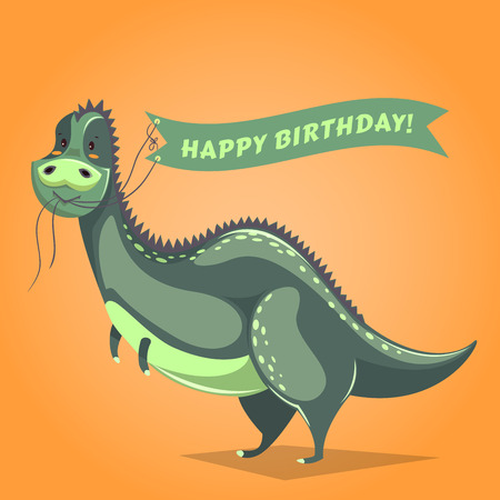 greeting people: Funny dinosaur in cartoon style holding ribbon with birthday greetings
