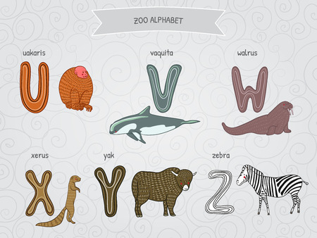 yak: Cute cartoon funny zoo alphabet in vector. U, v, w, x, y, z letters. Uakaris, vaquita, walrus, xerus, yak, zebra. Design in a colorful style. Illustration