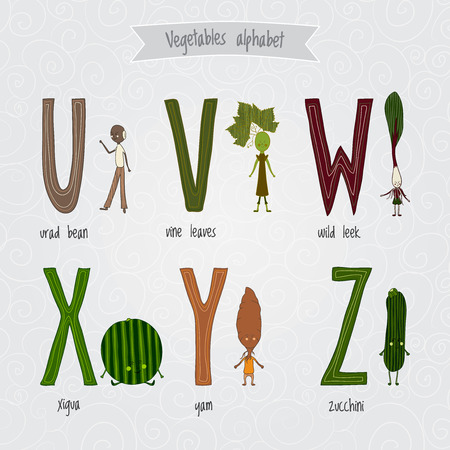 eat healthy: Cute cartoon funny vegetables alphabet in vector Illustration