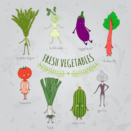 rhubarb: set of cartoon hand drawn vegetables characters Illustration