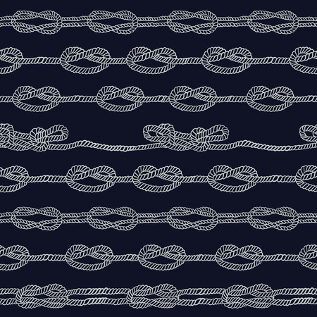 overhand: Navy rope and marine knots striped seamless pattern. Vintage illustration collection Illustration