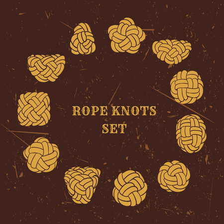 knot: Vintage illustrations of nautical rope knots collection on grunge background Illustration
