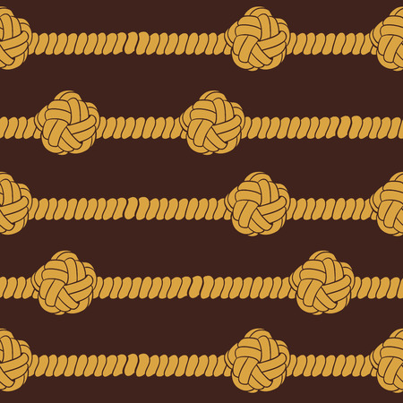 overhand: Navy rope and marine knots striped seamless pattern. Vintage  illustration collection