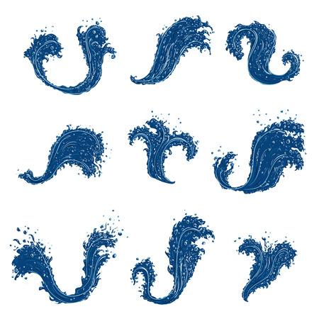splashing water: Splashing Water Wave Set. Hand drawn  illustration