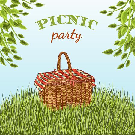 ピクニック バスケット、木の枝で草原でピクニック パーティー。夏休み。手描きイラスト