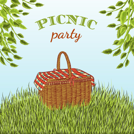 basket: Picnic party in meadow with picnic basket and tree branches. Summer vacation. Hand drawn illustration