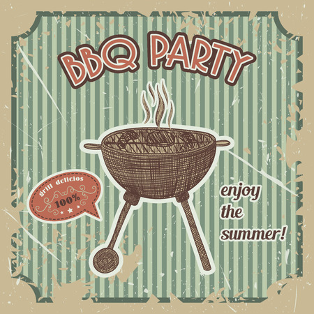 picnic blanket: Bbq party vintage poster with bbq grill on the grunge background. Retro hand drawn illustration in sketch style