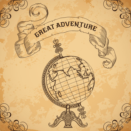 """wereldbol: Poster met vintage globe en lint. Retro hand getekende vector illustratie """"Great avontuur"""" in schets stijl met grunge achtergrond oud papier"""