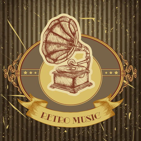 Poster with vintage gramophone. Retro hand drawn  illustration label retro music in sketch style with grunge background