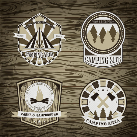 summer camp: Set of vintage camping and outdoor adventure  badges and labels. Retro illustration
