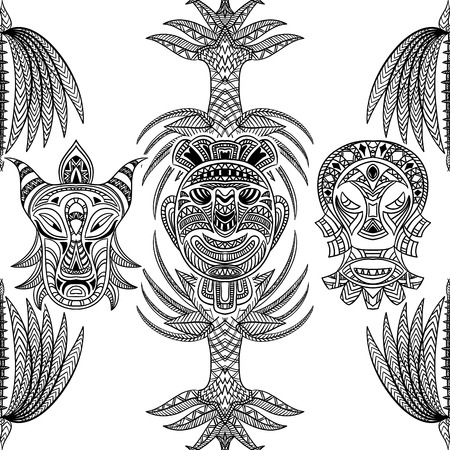 tiki head: seamless pattern with tribal mask and aztec geometric latin American ornament.Hand drawn vector illustration