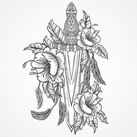 espadas medievales: Medieval espada, flores, hojas y plumas. Vintage mano muy detallado floral dibujado ilustraci�n. Elementos aislados. Motif victoriana. Dise�o del tatuaje