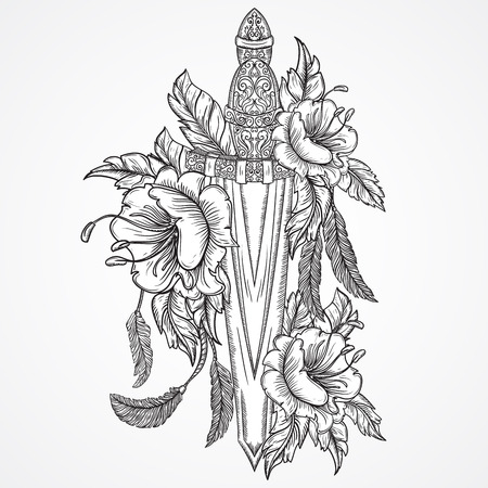 tattoo arm: Medieval sword, flowers, leaves and feathers. Vintage floral highly detailed hand drawn illustration. Isolated elements. Victorian Motif. Tattoo design