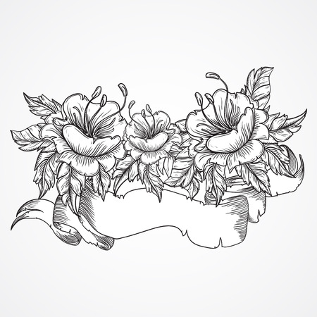 Vintage floral highly detailed hand drawn bouquet of flowers and ribbon banner in black and white. Victorian Motif, tattoo design element. Bouquet concept art. Isolated stock vector illustration