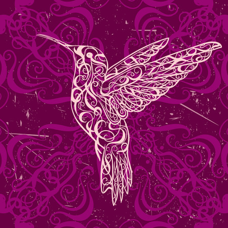 Hummingbird. L'art du tatouage. Rétro bannière, invitation, carte, scrapbooking. t-shirt, sac, carte postale, poster.Highly détaillée style vintage dessinés à la main illustration vectorielle Vecteurs