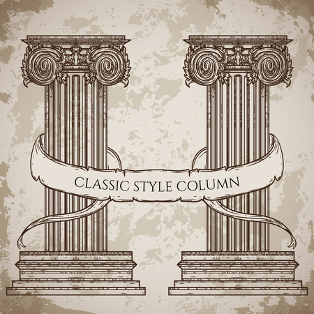 roman pillar: Antique and baroque classic style column and ribbon banner vector set. Vintage architectural details design elements on grunge background in sketch style Illustration