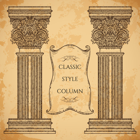 architectural elements: Antique and baroque classic style column and ribbon banner vector set. Vintage architectural details design elements on grunge background in sketch style Vectores