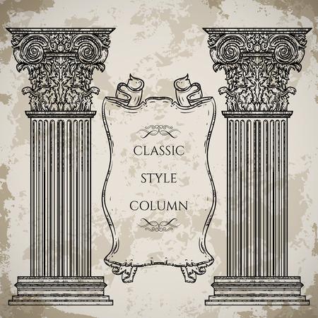 architectural elements: Columna de estilo cl�sico antiguo y barroco y conjunto de vectores bandera de la cinta. Elementos de detalles de dise�o arquitect�nico de la vendimia en el fondo del grunge en el estilo de dibujo Vectores