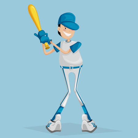 ballplayer: Cartoon ballplayer. Vector illustration boy with a baseball bat Illustration