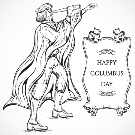christopher columbus: Man with Telescope and ribbon banner.Vintage poster Columbus Day. Vector hand drawn illustration. Retro invitation, card, print, t-shirt, postcard, poster.