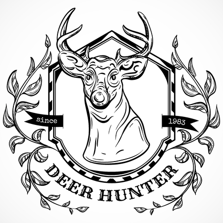deer hunter: deer hunter label design template.