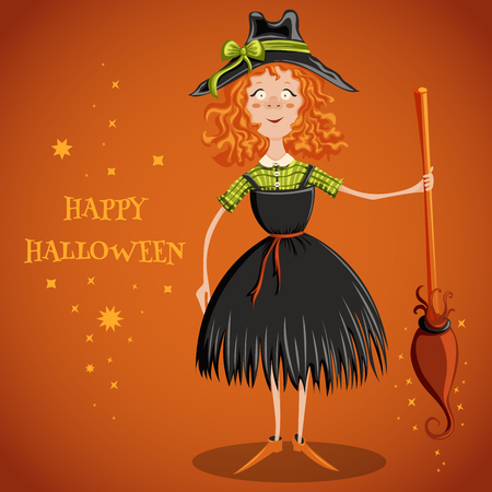 Witch with broom. Cartoon vector illustration happy halloween. Invitation, card, print, postcard, poster, background.