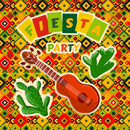 Mexican Fiesta Party poster with mexican guitar and cactuses. Flyer or greeting card template with geometric background. Vector illustration Ilustração