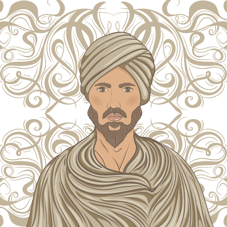 turban: Handsome arabian man with mustache and beard in a turban over ornate pattern. Retro hand drawn vector illustration Illustration