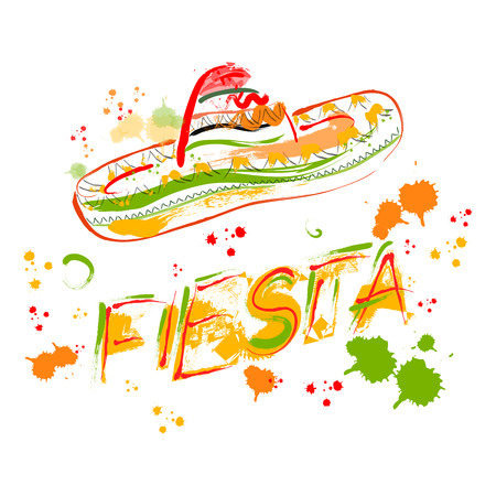 Mexican Fiesta Party Invitation with sombrero. Hand drawn vector illustration poster with grunge background