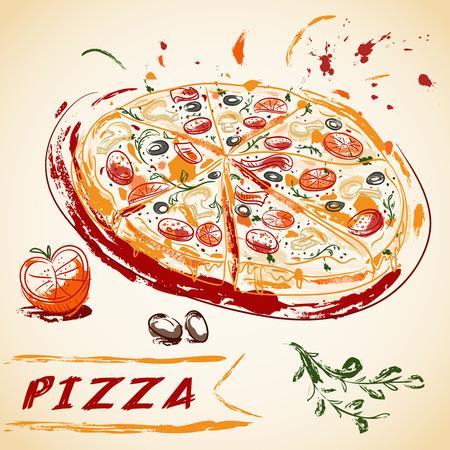Main Vintage dessinée italienne pizza savoureuse tranches. Vector illustration. Banque d'images - 45883372