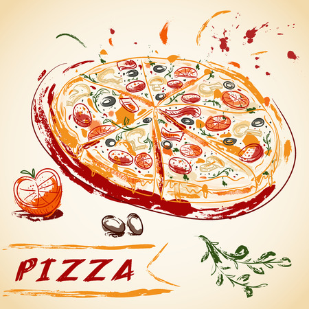 Vintage hand drawn Italian tasty sliced pizza. Vector illustration.