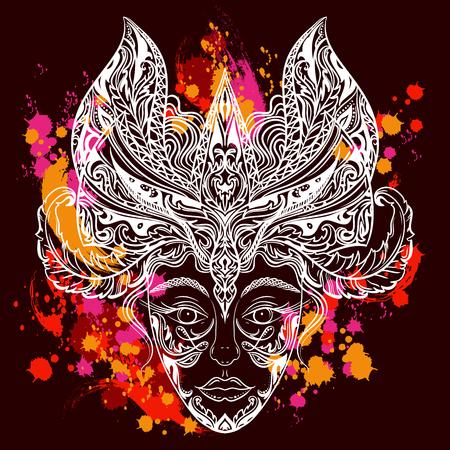 mascara de teatro: Cabeza de mujer en la máscara de la mascarada en el fondo colorido salpicaduras. Cartel de la vendimia fiesta de Carnaval. Altamente detallada mano dibuja ilustración vectorial. Diseño retro de la invitación, tarjeta, impresión, camiseta, postal Vectores