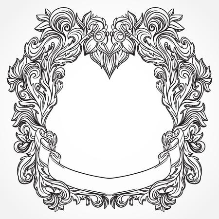 Antique border frame engraving with retro ornament pattern. Vintage design decorative element in baroque style. Retro hand drawn vector illustration  イラスト・ベクター素材