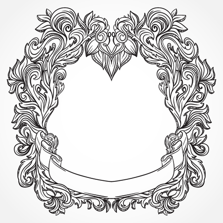 Antique border frame engraving with retro ornament pattern. Vintage design decorative element in baroque style. Retro hand drawn vector illustration Illustration