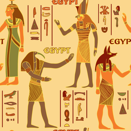 egyptian culture: Vintage seamless pattern with egyptian gods and ancient egyptian hieroglyphs. Retro hand drawn vector illustration Illustration