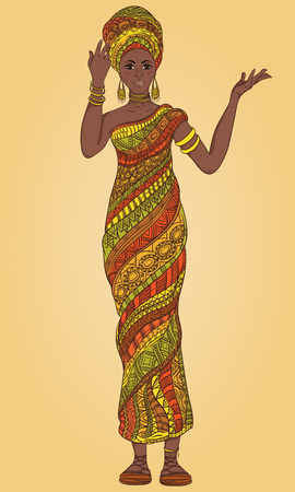 Dancing beautiful African woman in turban and traditional costume with ethnic geometric ornament full length. Hand drawn vector illustration.
