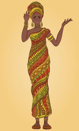 danza africana: Dancing bella mujer africana en el turbante y el traje tradicional con étnica ornamento geométrico de cuerpo entero. Dibujado a mano ilustración vectorial.
