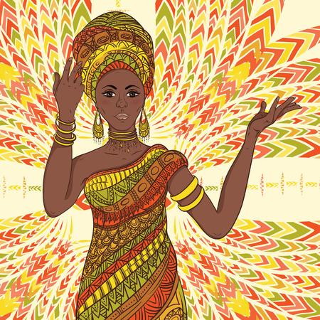 Dancing bella mujer africana en el turbante y el traje tradicional con étnica ornamento geométrico de cuerpo entero. Dibujado a mano ilustración vectorial.