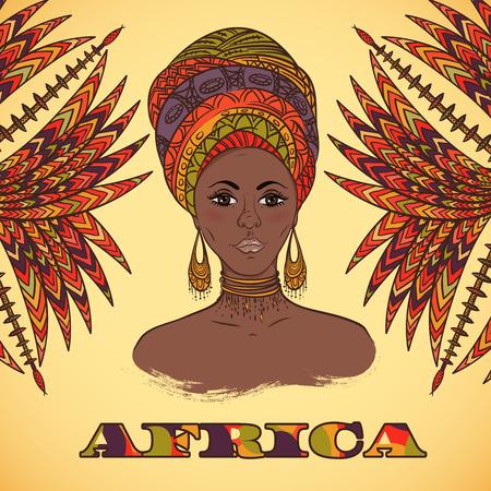 Mooie Afrikaanse vrouw in tulband en abstracte palmbladeren met etnische geometrische versiering. Hand getrokken vector illustratie. Design, kaart, print, poster, briefkaart