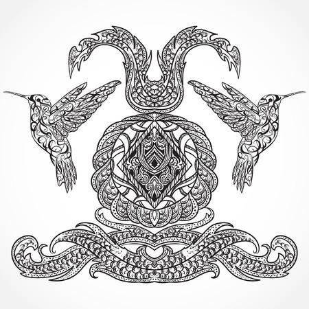 Conception vintage d'art avec des éléments de colibri et de calligraphie décorative. Motif victorienne. Rétro invitation, carte, impression, t-shirt, cartes postales, tatouage, illustration poster.Vector