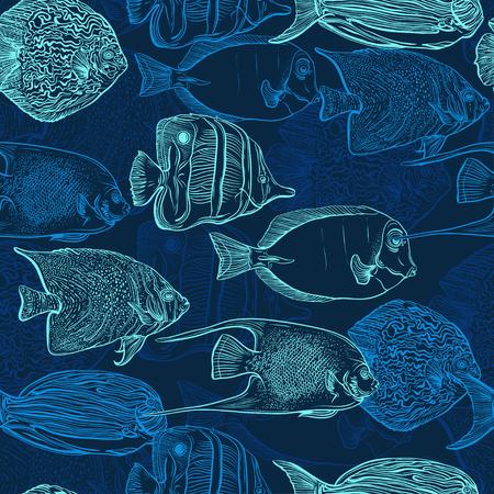 Naadloze patroon met collectie van tropische vissen. Vintage set van hand getrokken mariene fauna. Vector illustratie in lijn art stijl. Ontwerp voor de zomer strand, decoraties. Stock Illustratie