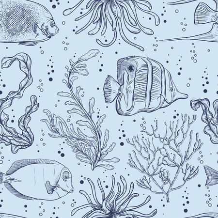熱帯の魚、海洋植物、海藻とのシームレスなパターン。ベクトルのヴィンテージ手描きイラスト海洋生物。夏のビーチ、装飾品、印刷、パターンの