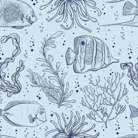 Seamless pattern with tropical fish, marine plants and seaweed. Vintage hand drawn vector illustration marine life. Design for summer beach, decorations, print, pattern fill, web surface background