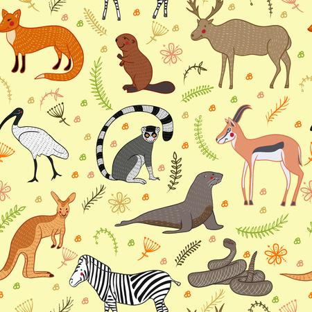 Patrón sin fisuras con Conjunto de la historieta lindos animales de vectores. Ilustración vectorial aislado a mano del estilo. Cebra, el zorro, el castor, antílope, ibis, alces, lemur, leones marinos, canguro, serpiente de cascabel Ilustración de vector