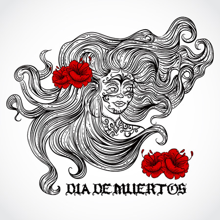 black hair girl: Day of The Dead. Woman with beautiful hair and red flowers. Vintage hand drawn vector illustration. Retro invitation, card, print, t-shirt, postcard, tattoo, poster.