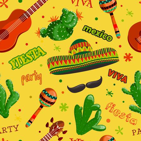 Naadloos patroon Fiesta partij met Mexicaanse gitaar, maracas, sombrero, snor en cactuses.Hand getrokken vectorillustratie Stock Illustratie